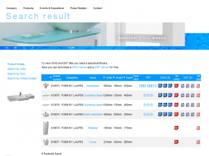 Laufen USA - Product Search Results Screenshot