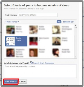 Select your Facebook administrator from your list of Facebook friends