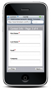 Screen Shot of a Formstack Form integrated with BatchBook on an IPhone